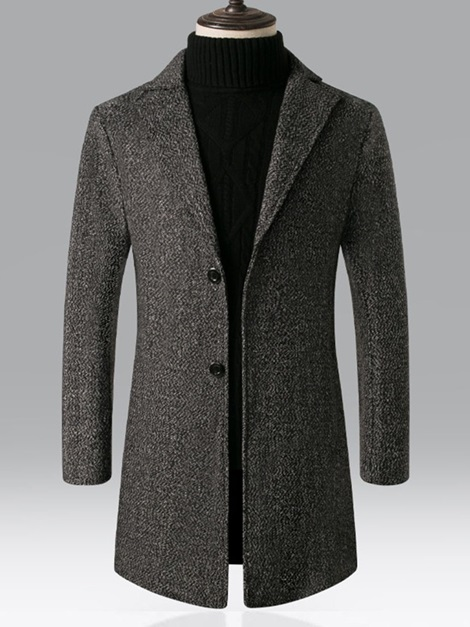 Button Long Notched Lapel Plain Single-Breasted Men's Coat