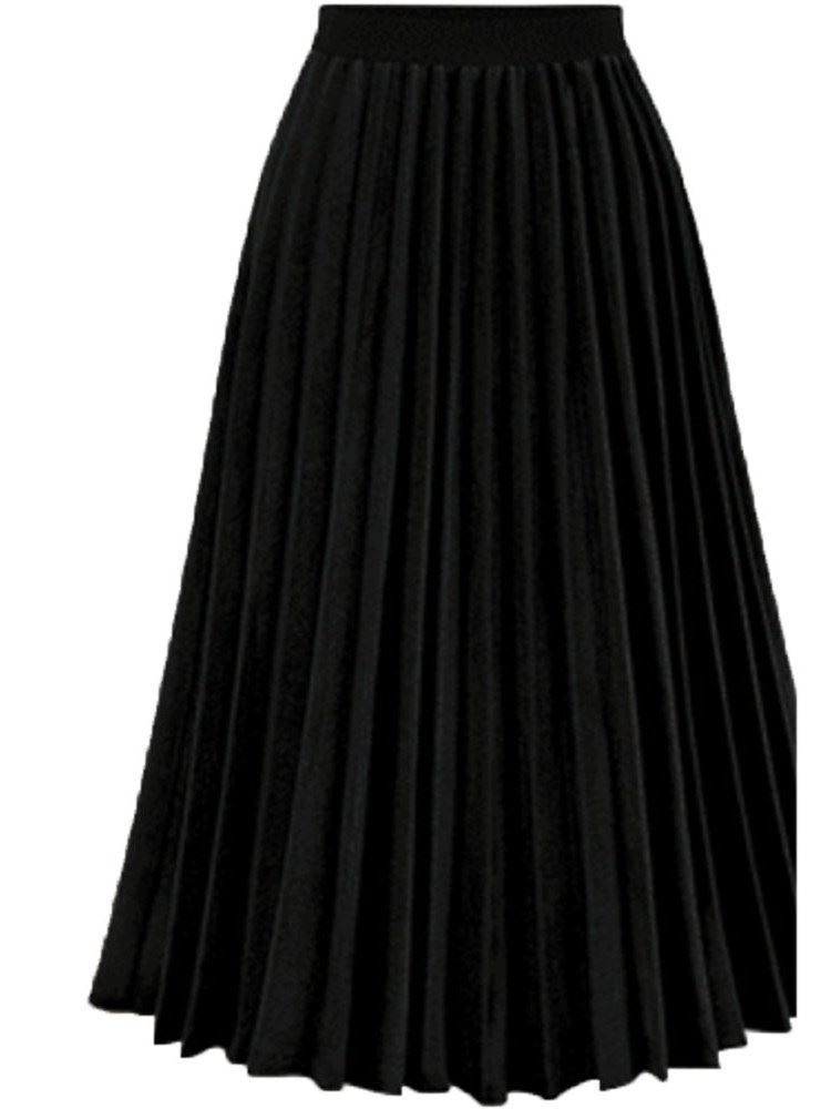 Mid-Calf Plain Pleated Womens Skirt