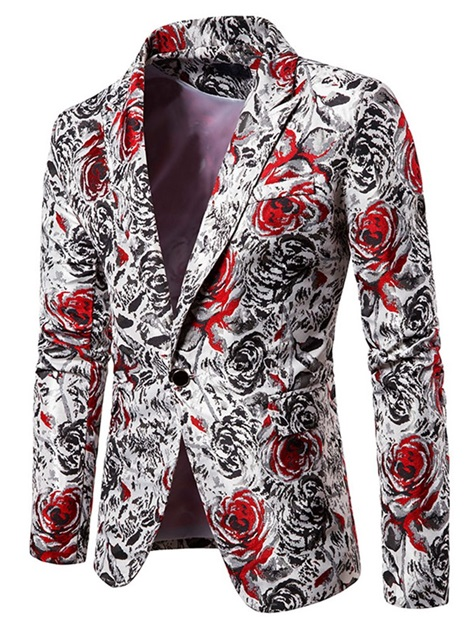 Notched Lapel One Button Casual Print Men's Leisure Blazers