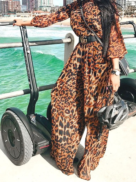 Leopard Full Length Color Block Loose Women's Jumpsuit