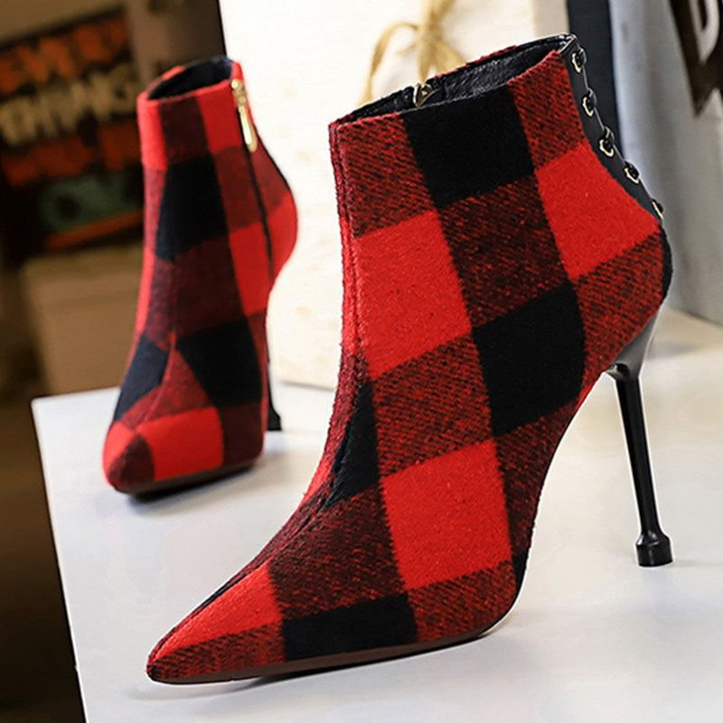 Stiletto Heel Side Zipper Pointed Toe Plaid Ankle Boots