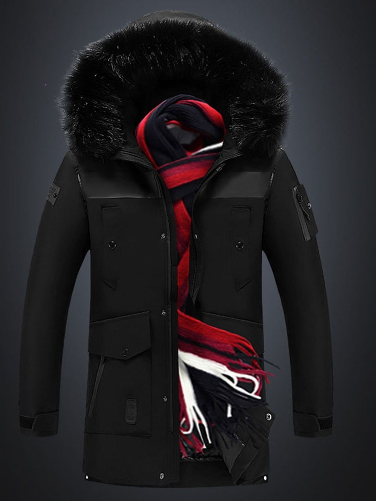 Color Block Hooded Mid-Length Casual Mens Down Jacket