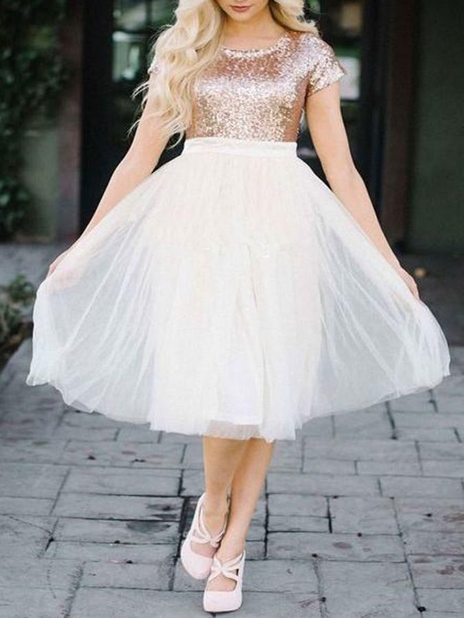 A-Line Short Sleeves Sequins Homecoming Dress 2019