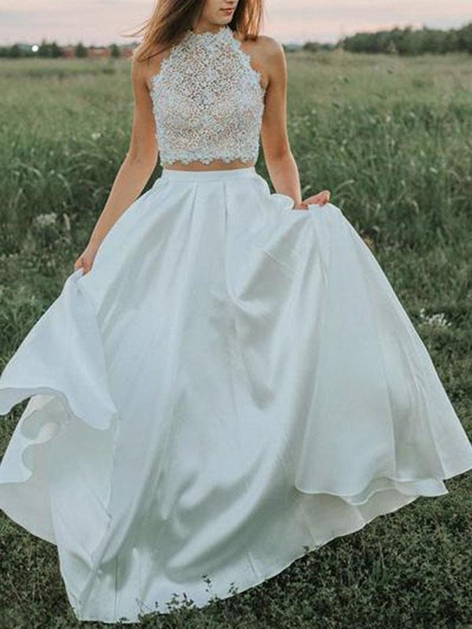 Two Pieces Lace Pockets Garden Wedding Dress 2019