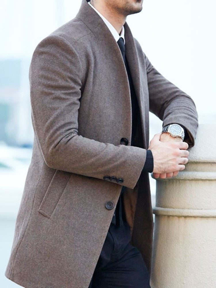 Button Stand Collar Plain Mid-Length Single-Breasted Mens Coat