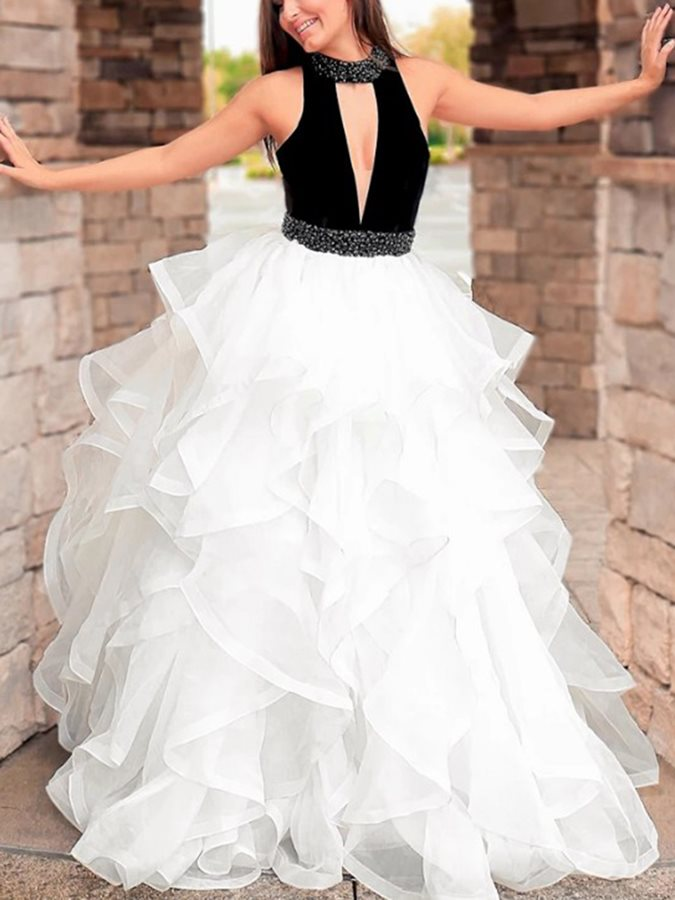 High Neck Beading Hollow Ball Gown Prom Dress 2019