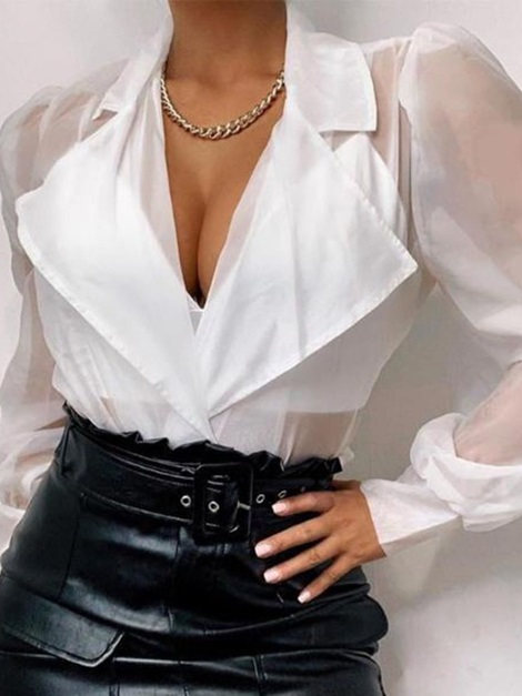 See-Through Notched Lapel Puff Sleeve Standard Long Sleeve Women's Blouse