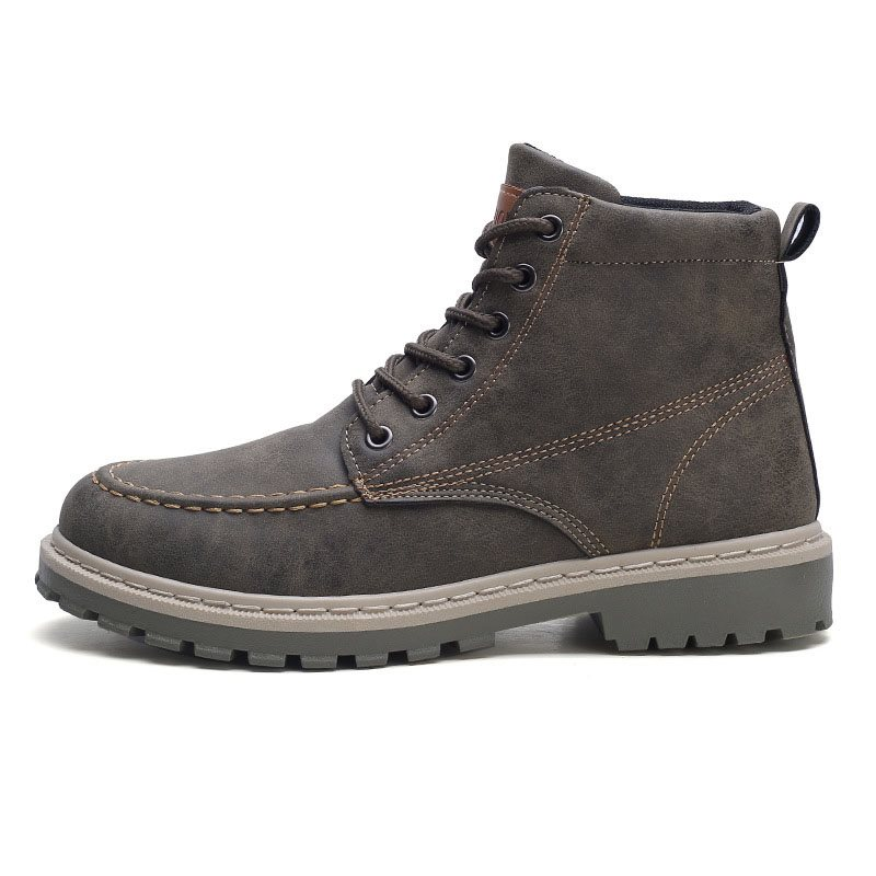 Round Toe Color Block Lace-Up Front PU Mens Martin Boots