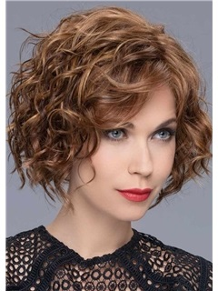 120% Density Women's Middle Length Brown Color Hairstyles Curly Human Hair Wigs Rose Lace Front Wigs 16Inch 5