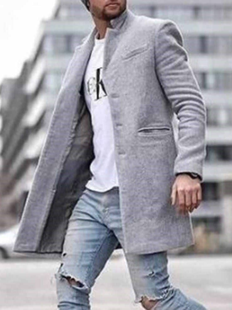 Pocket Mid-Length Plain Straight Mens Coat