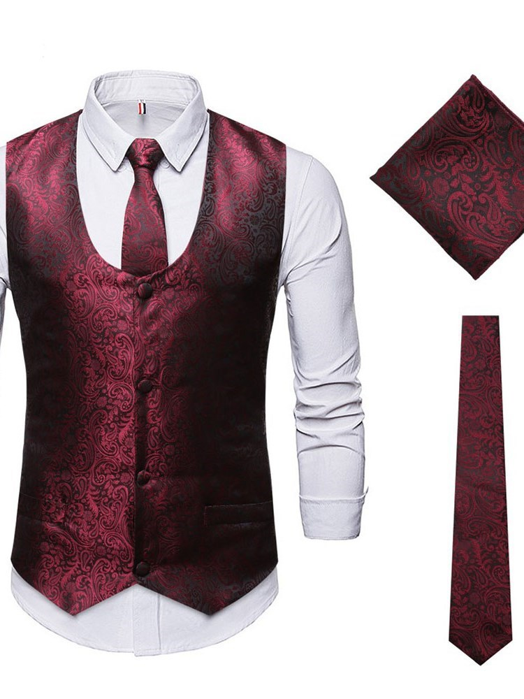 Vest Plain Casual Single-Breasted Mens Dress Suit фото