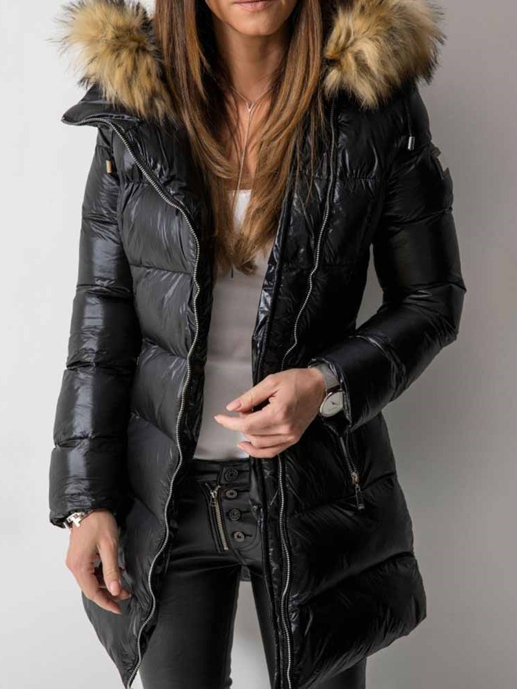 Patchwork Zipper Straight Mid-Length Womens Cotton Padded Jacket