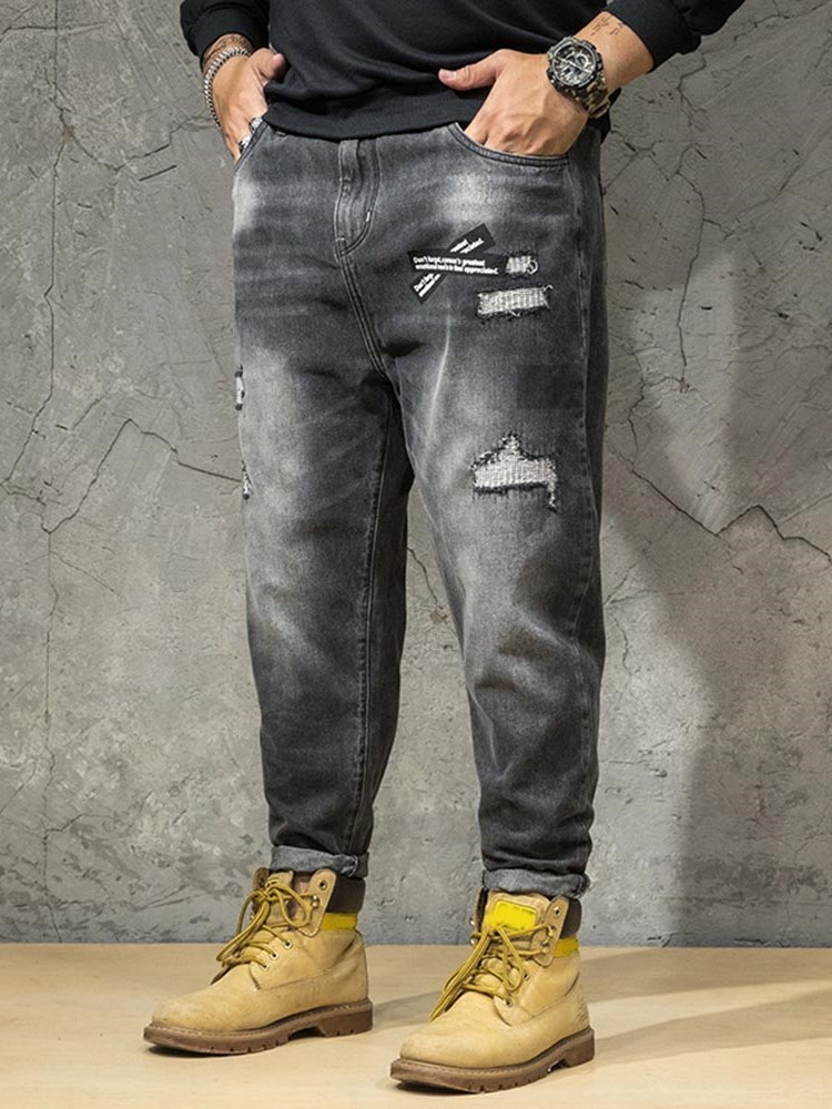Color Block Pocket Zipper Mens Jeans