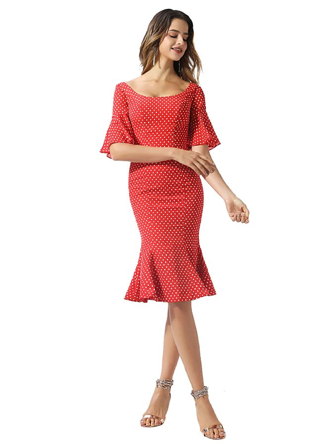 Short Sleeves Knee-Length Ruffles Dots Cocktail Dress 2020