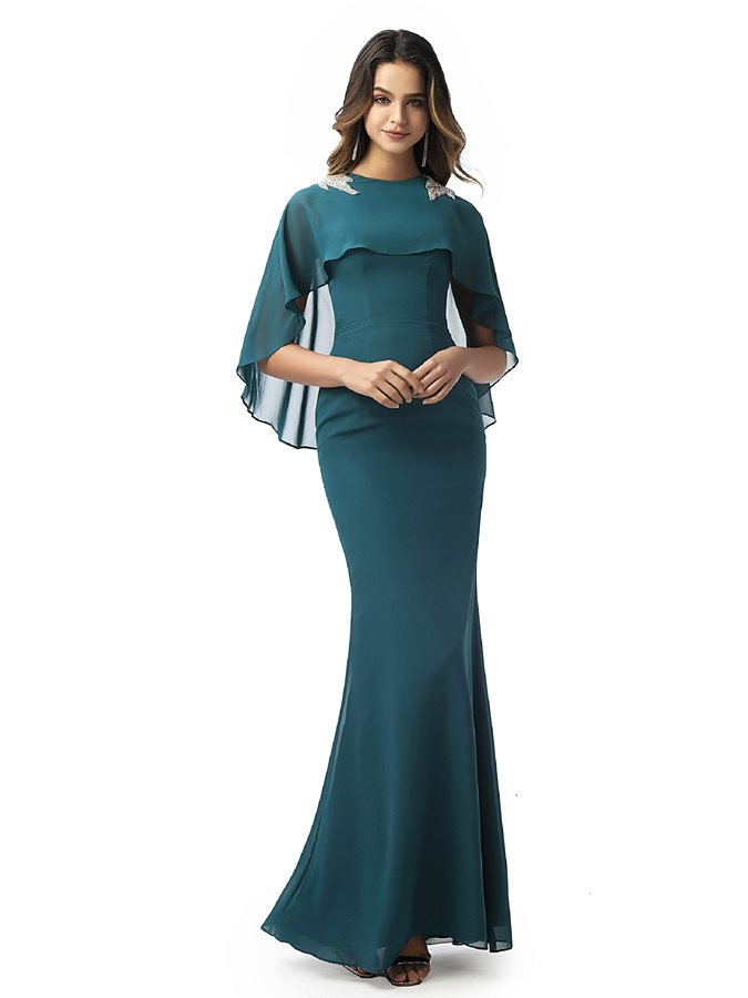 Sheath Jewel Neck Beading Evening Dress 2020