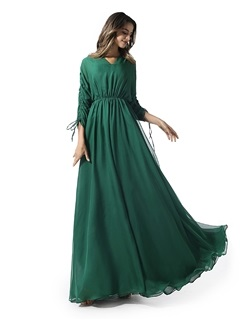 V-Neck Ruched A-Line Evening Dress with Sleeves