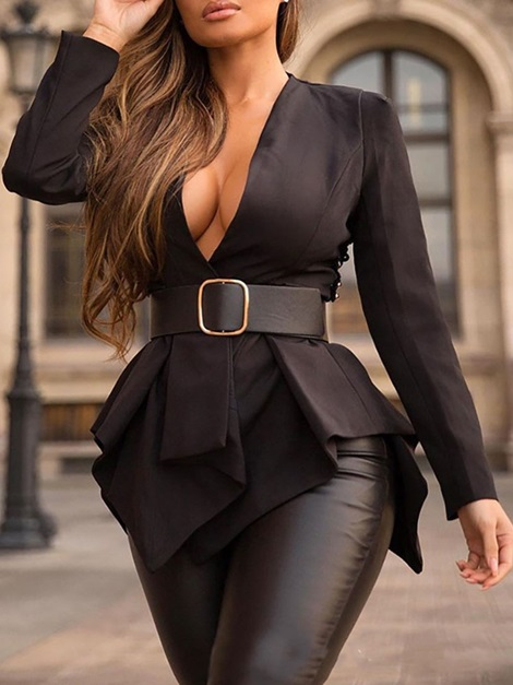 V-Neck Plain Mid-Length Fashion Long Sleeve Women's Blouse