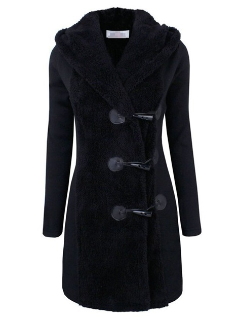Button Single-Breasted Slim Hooded Long Women's Overcoat