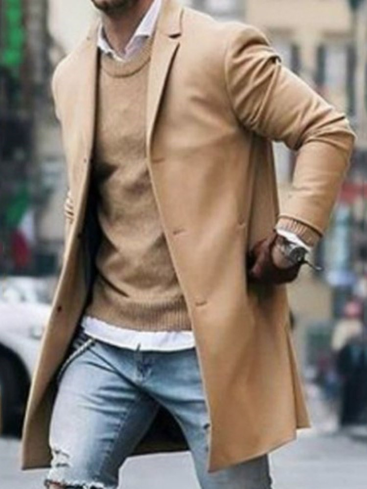 Notched Lapel Plain Mid-Length Winter Mens Coat