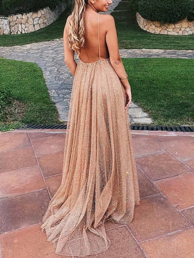 Spaghetti Straps Sleeveless Sequins Prom Dress 2020