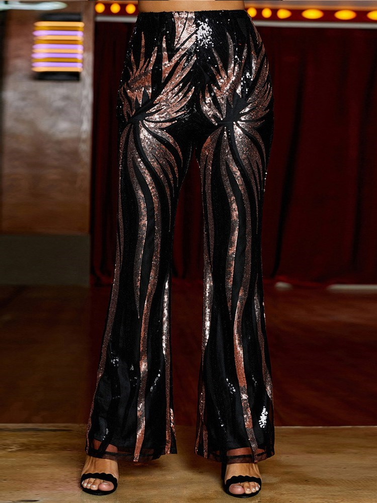 Slim Sequin Full Length Bellbottoms Womens Casual Pants