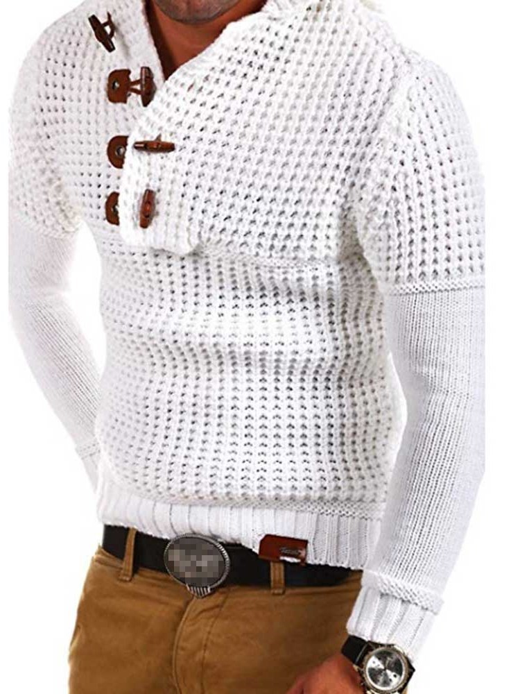 Hooded Plain Color Loose Style Mens Sweater фото