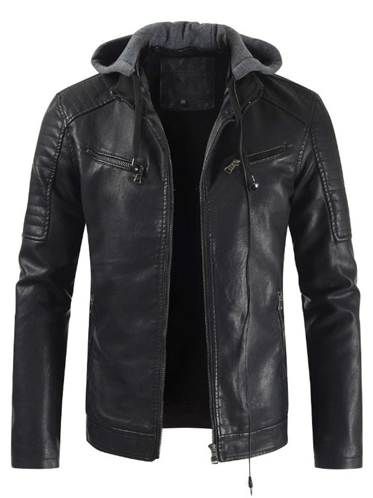 Hooded Zipper Style Mens Leather Jacket фото