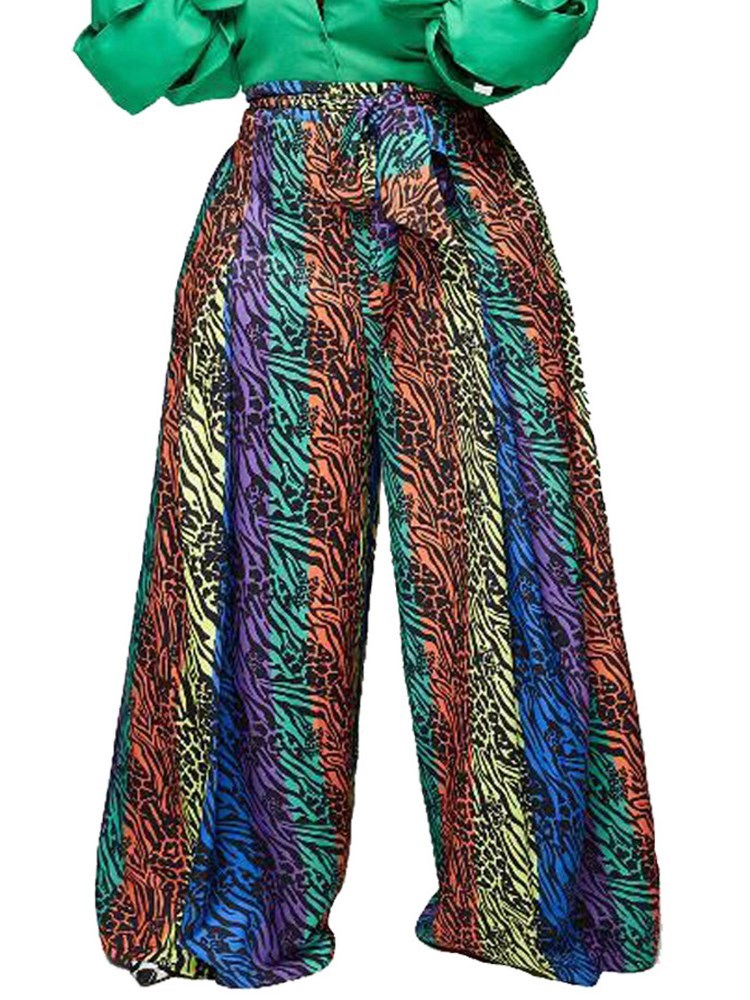 Color Block Loose Print High Waist Wide Legs Womens Casual Pants