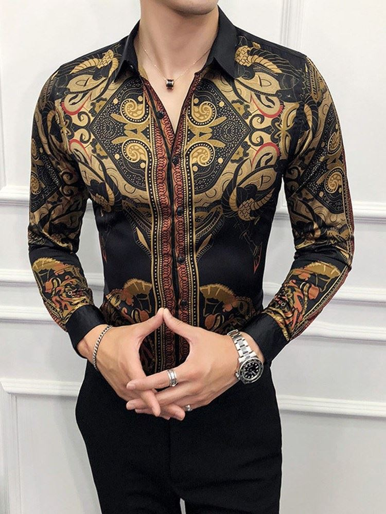 Print Casual Style Lapel Single-Breasted Mens Shirt