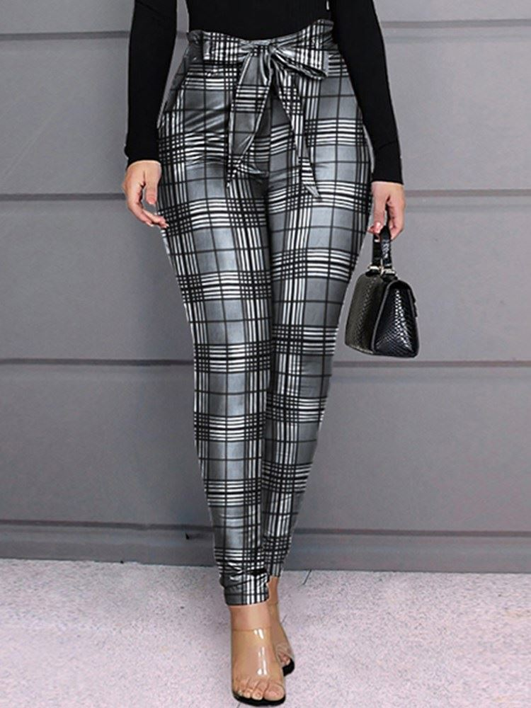 Bowknot Slim High Waist Pencil Pants Womens Casual Pants