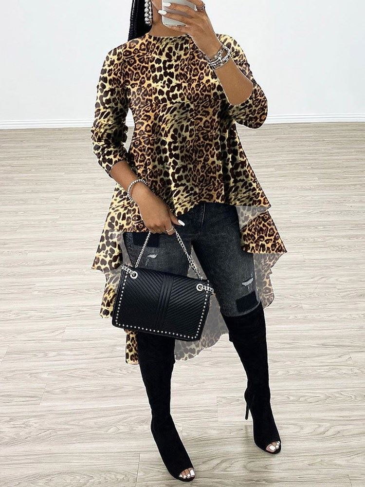 African Fashion Regular Patchwork Leopard Long Sleeve Long Womens Blouse