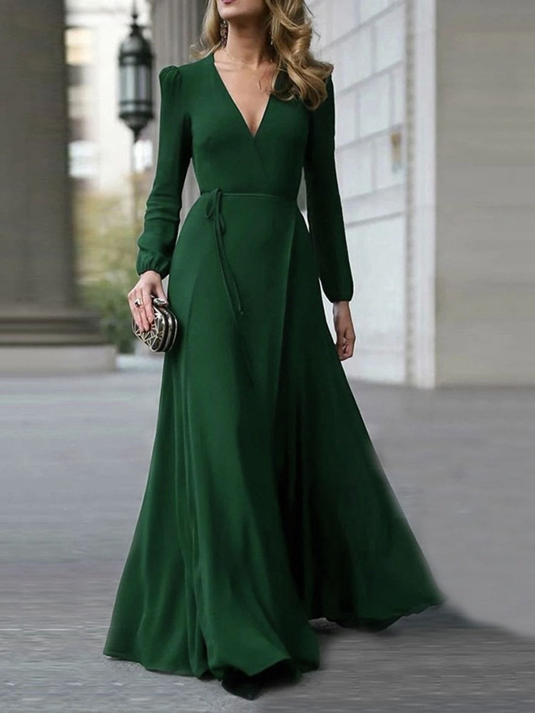 V-Neck Long Sleeve Floor-Length Elegant Mid Waist Womens Dress