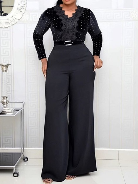 Patchwork Full Length Elegant Slim Wide Legs Women's Jumpsuit