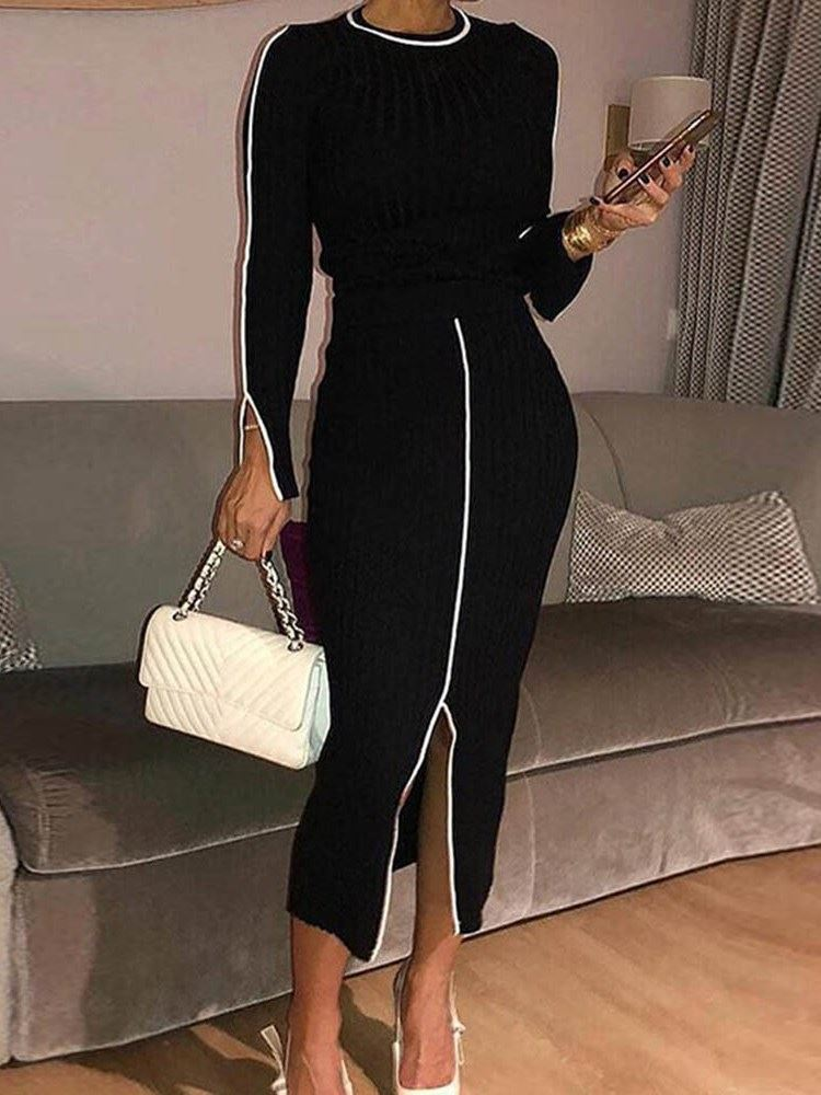 Casual Sweater Round Neck Split Womens Two Piece Sets