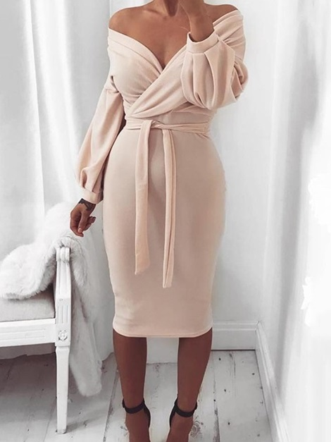 Lace-Up V-Neck Long Sleeve Pullover Sweet Women's Dress