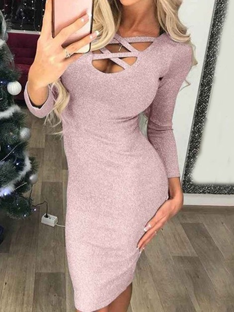 Hollow Nine Points Sleeve Mid-Calf Pullover Casual Women's Dress