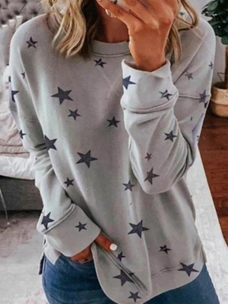 Print Star Regular ound Neck Women's Hoodie