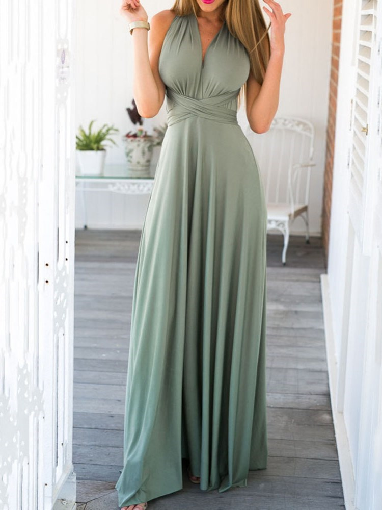 Floor-Length Backless Sleeveless Expansion Plain Womens Dress