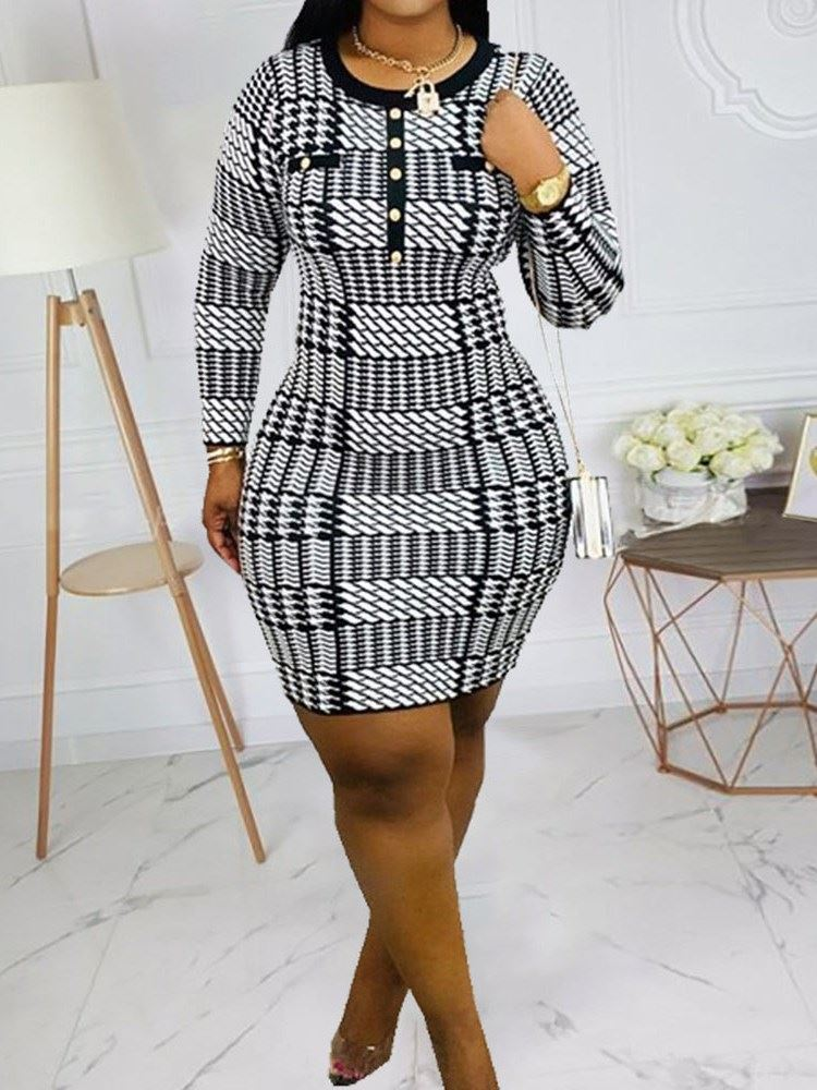 Nine Points Sleeve Round Neck Above Knee Houndstooth Casual Womens Dress