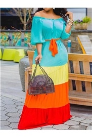 Patchwork Three-Quarter Sleeve Ankle-Length Color Block Lantern Sleeve Women's Dress