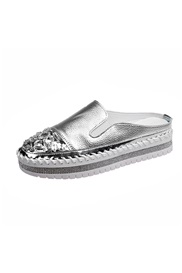 Round Toe Flat With Rhinestone Low-Cut Upper Thin Shoes
