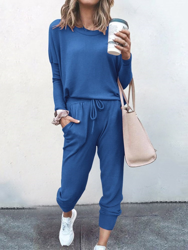 Lace-Up Plain Ankle Length Pants Round Neck Pullover Womens Two Piece Sets