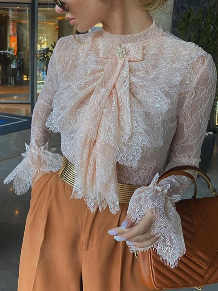 Flare Sleeve Stand Collar Lace Long Sleeve Standard Womens Blouse фото