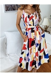 Scoop Print Sleeveless Pullover Date Night/Going Out Women's Dress