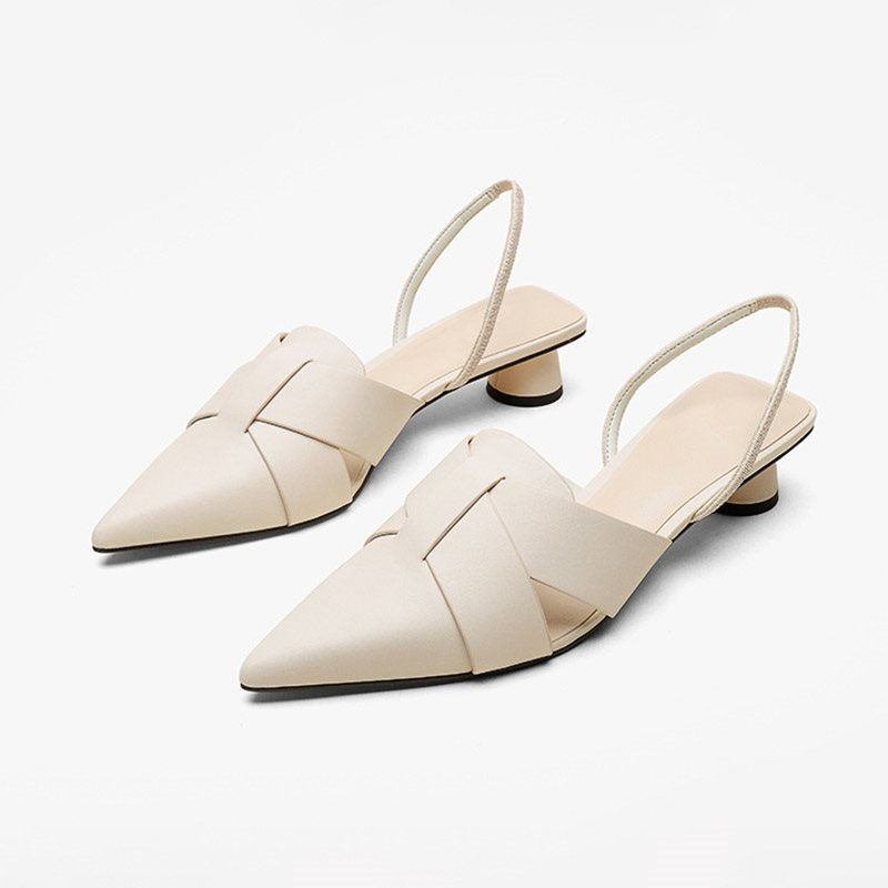 Chunky Heel Pointed Toe Slip-On Casual Sandals фото