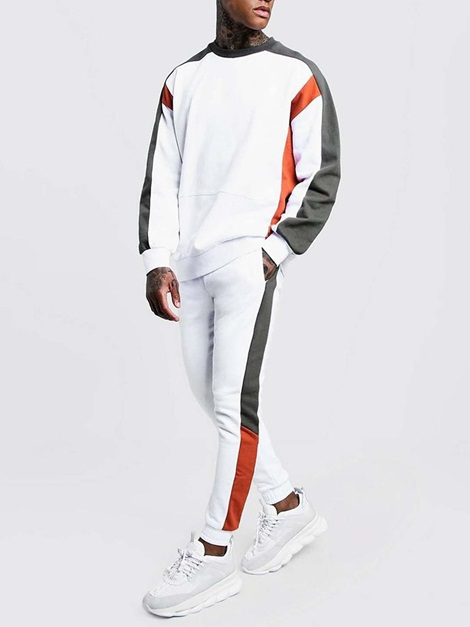 Hoodie Patchwork Casual Color Block Fall Men's Outfit