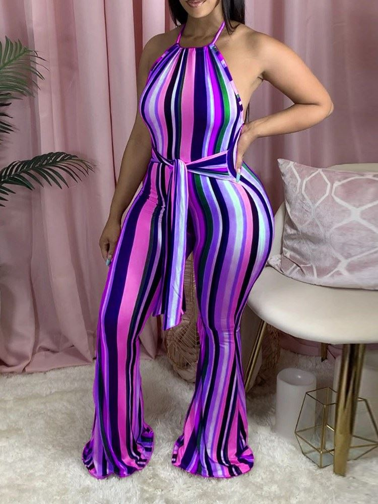 Western Full Length Lace-Up Bellbottoms Slim Womens Jumpsuit