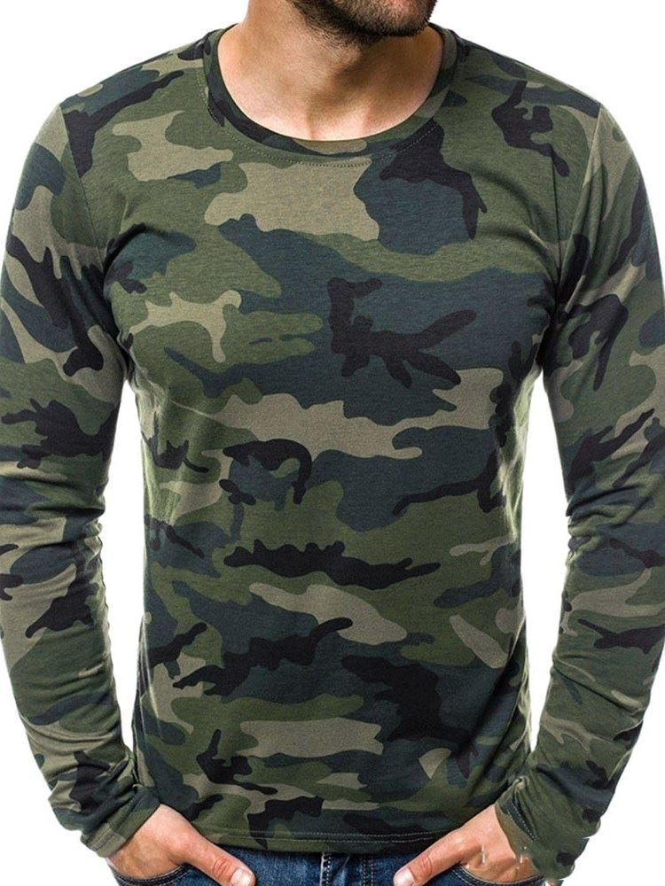 Round Neck Print Camouflage Straight Mens T-shirt фото