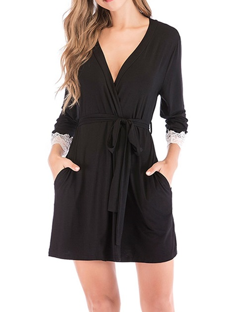 Lace Plain Three-Quarter Sleeve Fall Women's Night-Robes