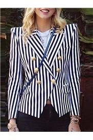 Long Sleeve Notched Lapel Double-Breasted Regular Standard Women's Casual Blazer